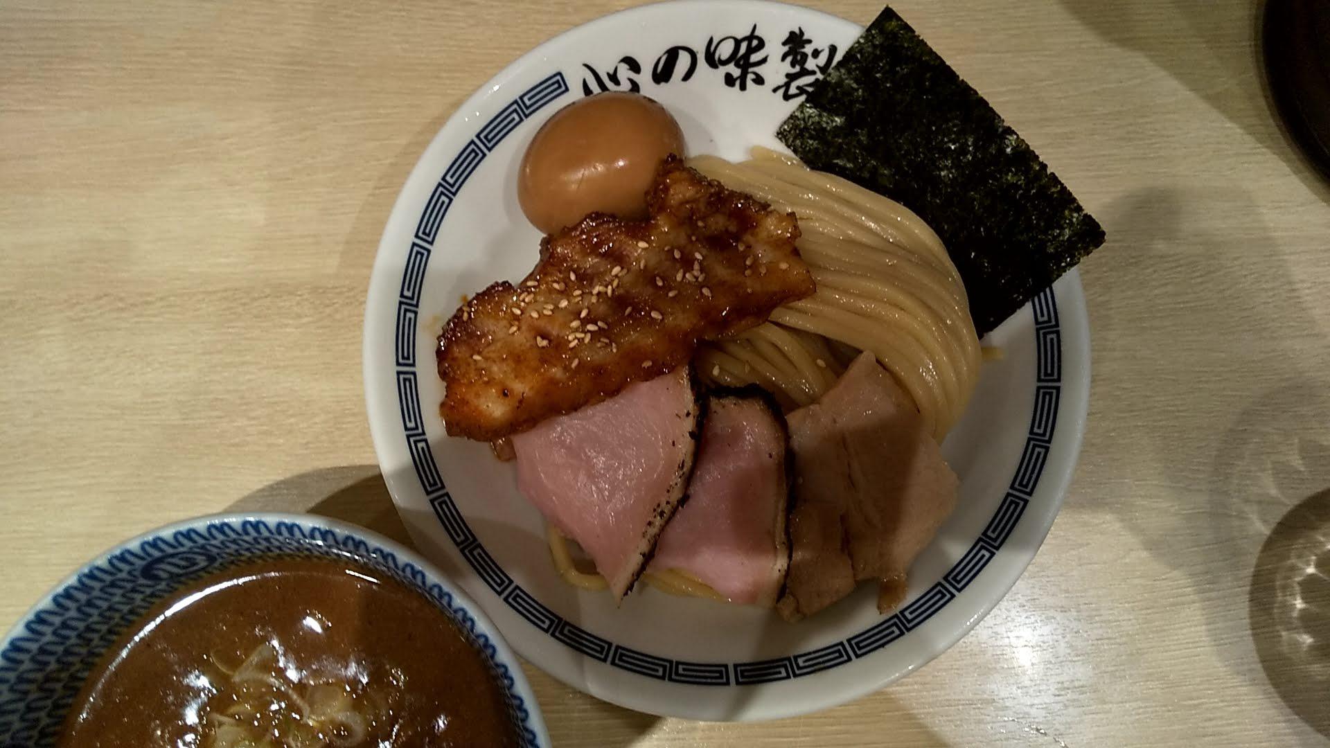 心の味製麺の特製濃厚豚骨魚介つけ麺の麺皿