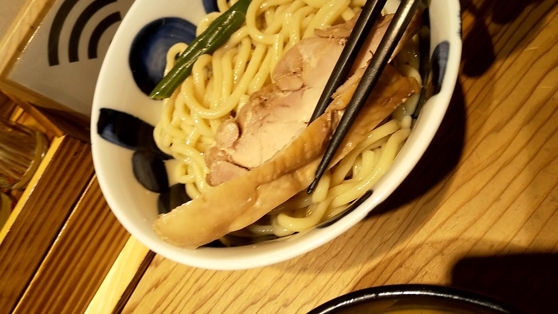 たいざん桜のつけ麺の鶏肉