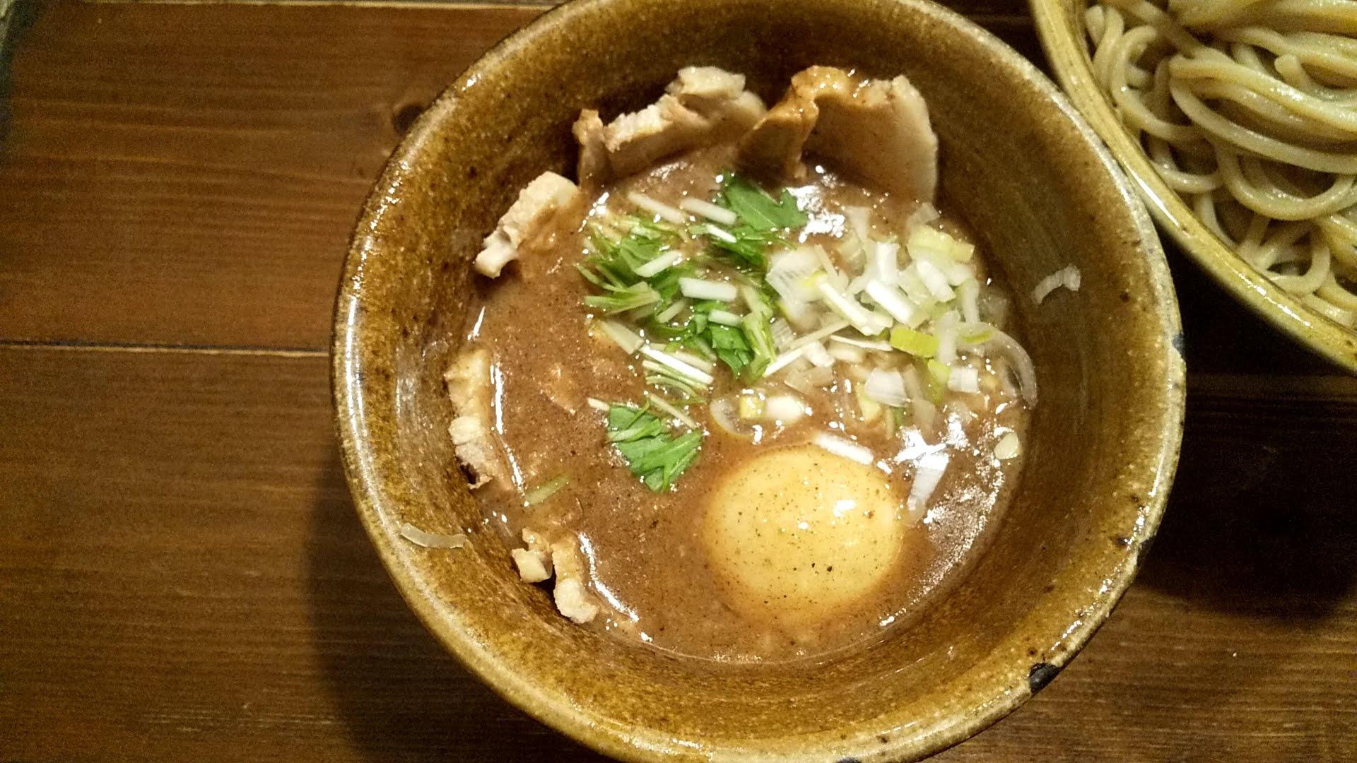 えん寺池袋店の味玉肉増しベジポタつけ麺のつけ汁